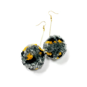Grey Cheetah Pom Dangles