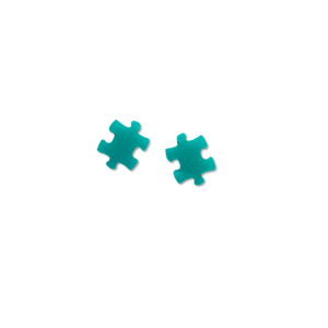 Aqua Puzzle Pieces - 12mm Shaped Studs