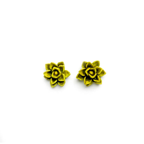 Living Green Succulent 13mm - Shaped Studs