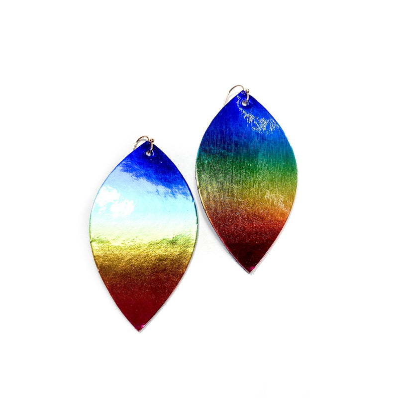 Bold Rainbow Ombré Metallic- Slim Leaf Drops