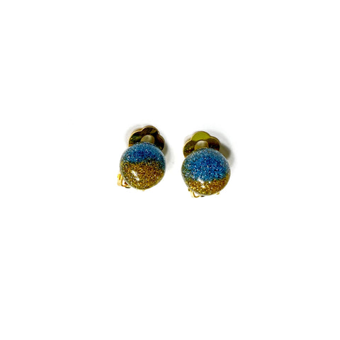 CLIP ONS Beaches Glitter Domes  - 12mm Shaped Studs