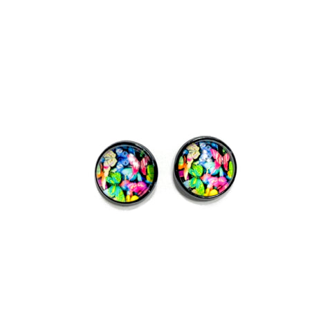 Rainbow Butterflies in Black - 12mm Dome Studs