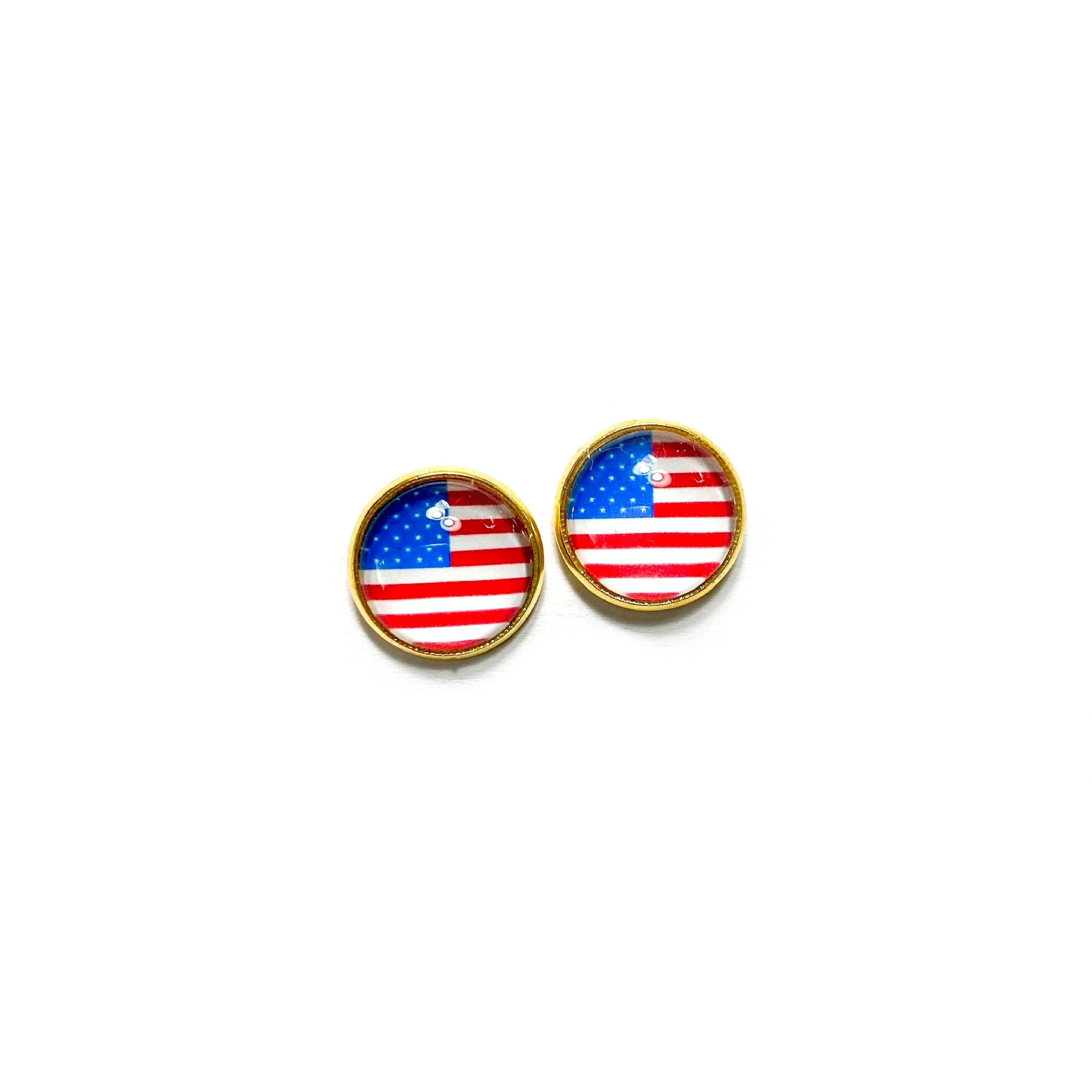 American Flag in Gold - 12mm Dome Studs