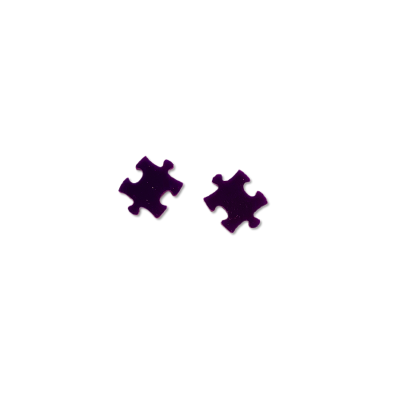Purple Puzzle Pieces - 12mm Shaped Studs