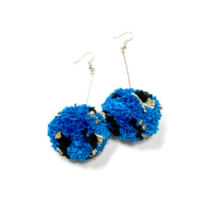 Teal Cheetah Pom Dangles