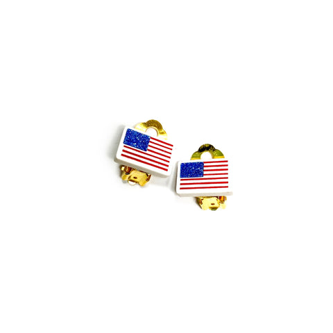 CLIP ONS American Flag - 13mm Shaped Studs
