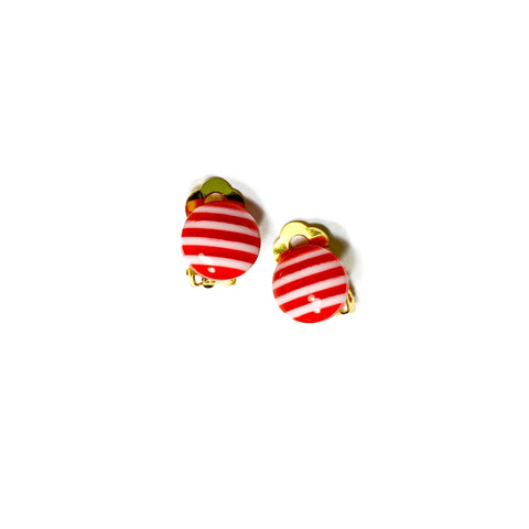 CLIP ONS Red Stripe Domes  - 12mm Shaped Studs