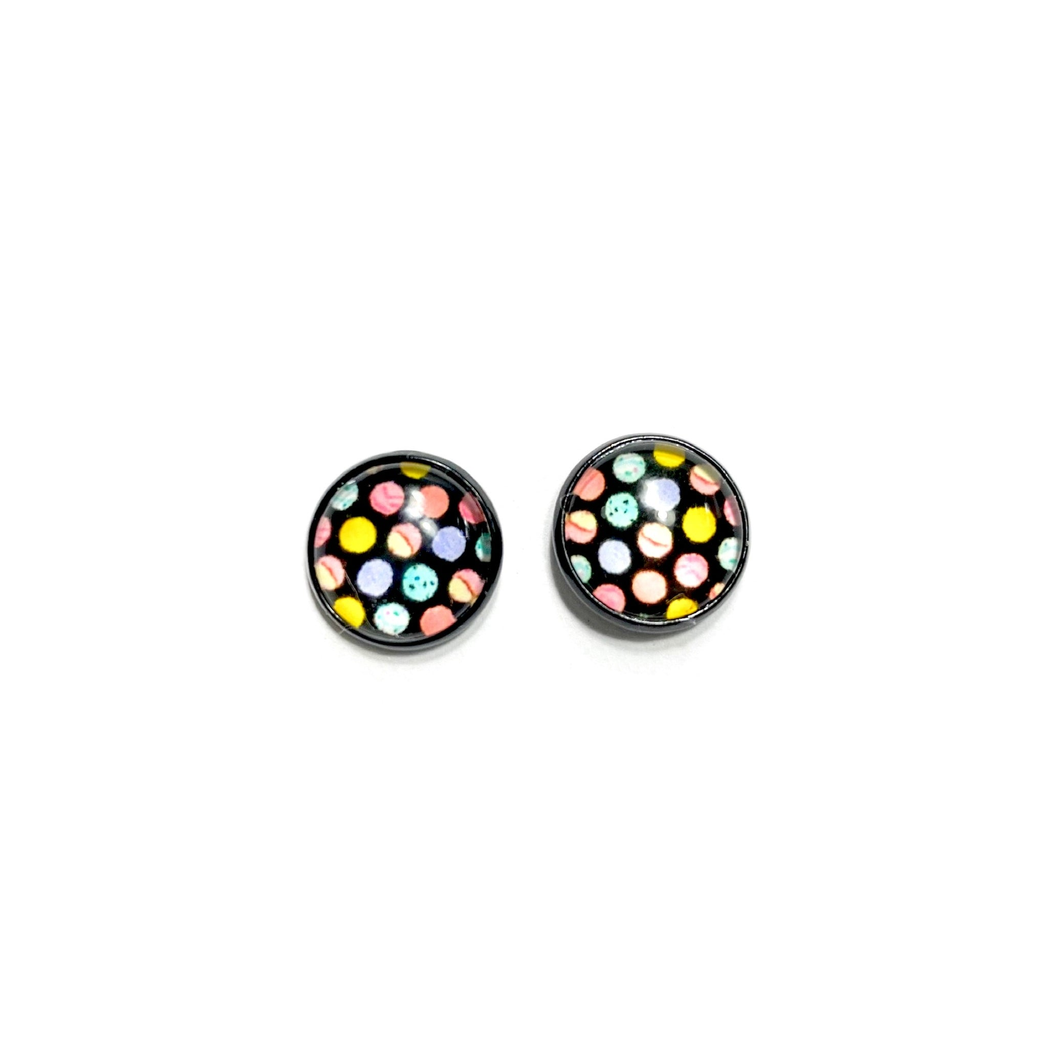 Rainbow Dots in Black - 12mm Dome Studs