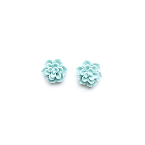 Matte Mint Succulent 13mm - Shaped Studs
