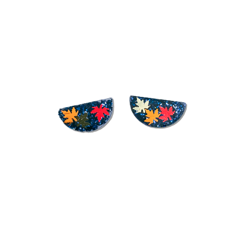 Autumn Leaves in Navy Glitter - 15mm Shaped Studs