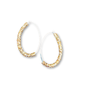 Gold Glitter - Oval Hoops