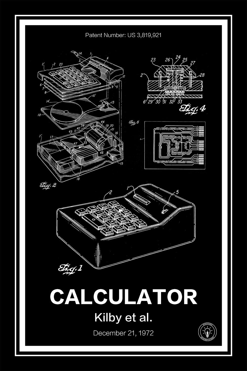 Electronic Calculator Patent Print Retro Patents The Integrated Circuit Is Invented By Jack Kilby In 1958