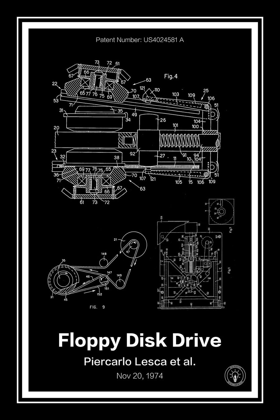 Floppy Disk Drive Patent Print Black - Retro Patents