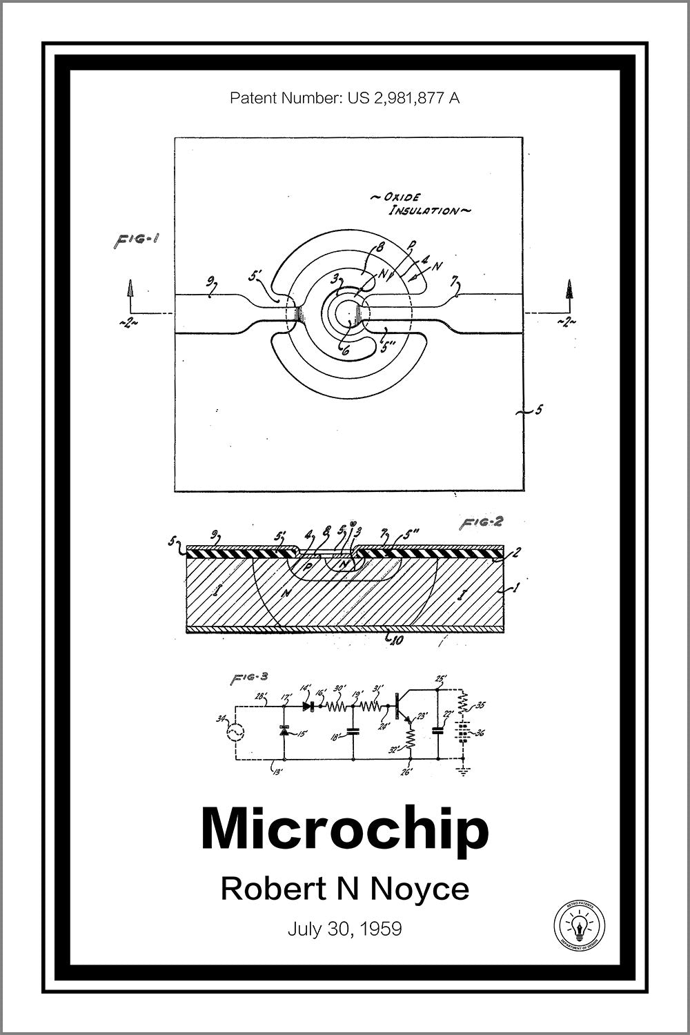 microchip patent print \u2013 retro patents1959 Practical Monolithic Integrated Circuit Concept Patented The #6