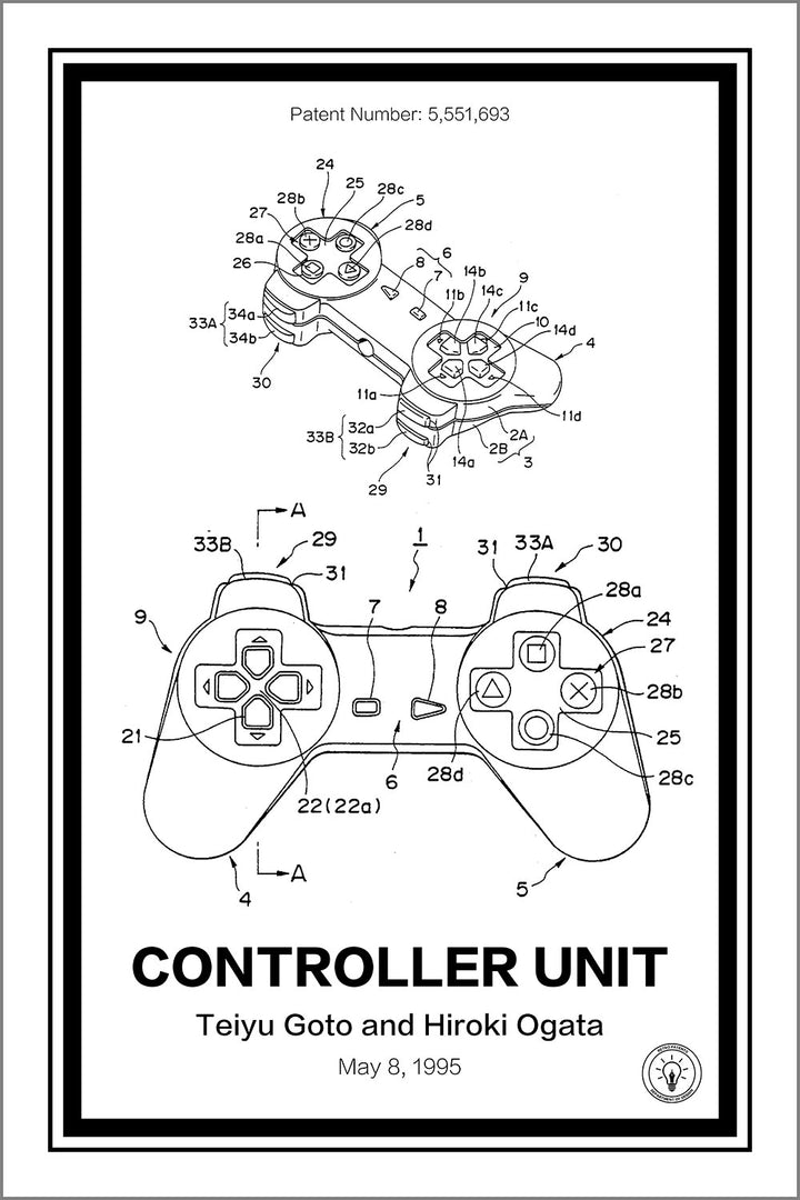 Playstation Controller® Patent Print - Retro Patents