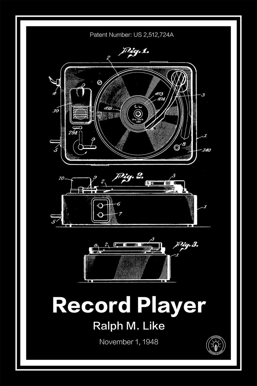 Record Player Patent Print - Retro Patents