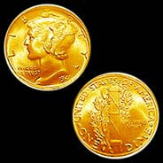 24K Gold-Plated Mercury Dime