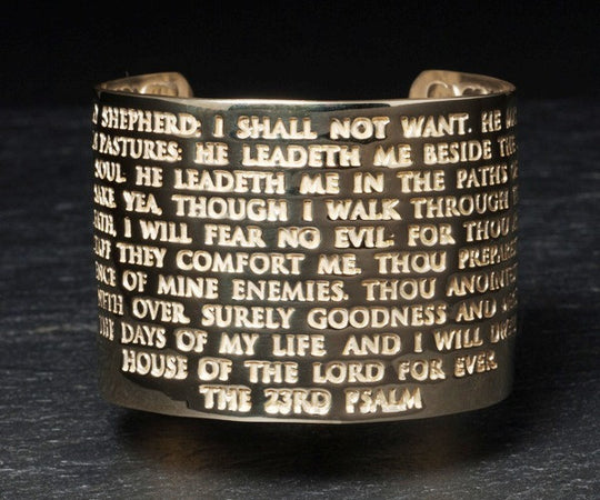 23rd Psalm Cuff in Brass