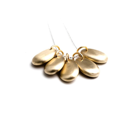 5 Smooth Stones Necklace in Brass