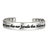 Never Alone Skinny Cuff Sterling Silver (Hebrews 13:5)