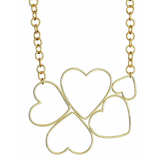 Ellen Valentine's Heart to Heart Necklace in Brass
