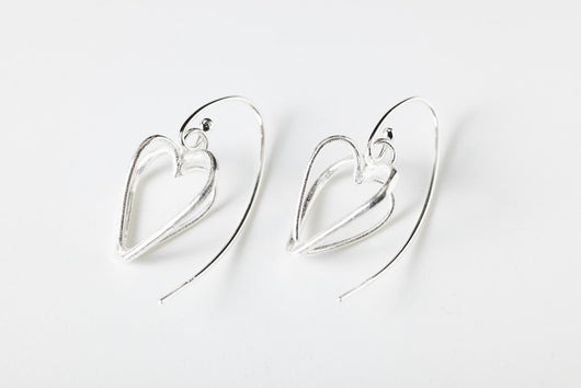 Interconnecting Heart Earrings Sterling Silver