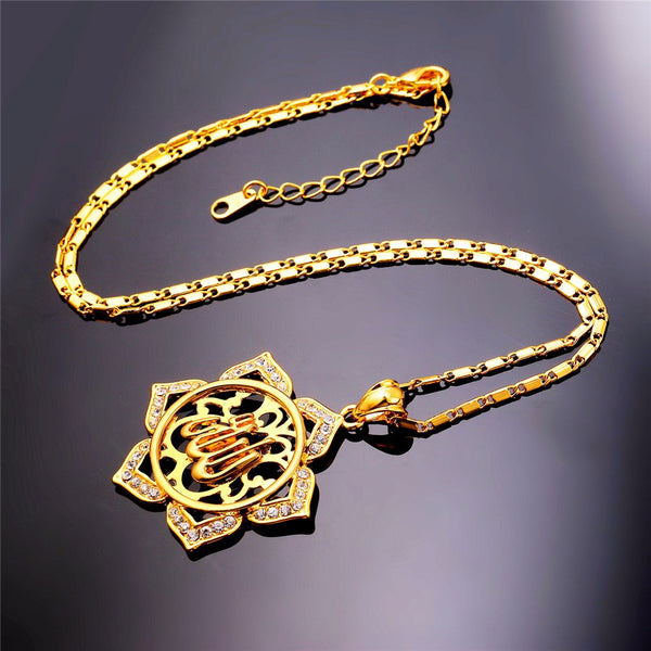 Flower Islamic Jewelry  24kGold/Platinum Overlay Rhinestone Crystal Vintage Allah Necklaces & Pendants