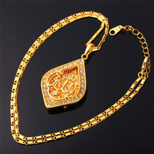 Classic Allah Necklace Pendant Islamic Jewelry Gold/Platinum  Color Rhinestone Muslim Jewelry