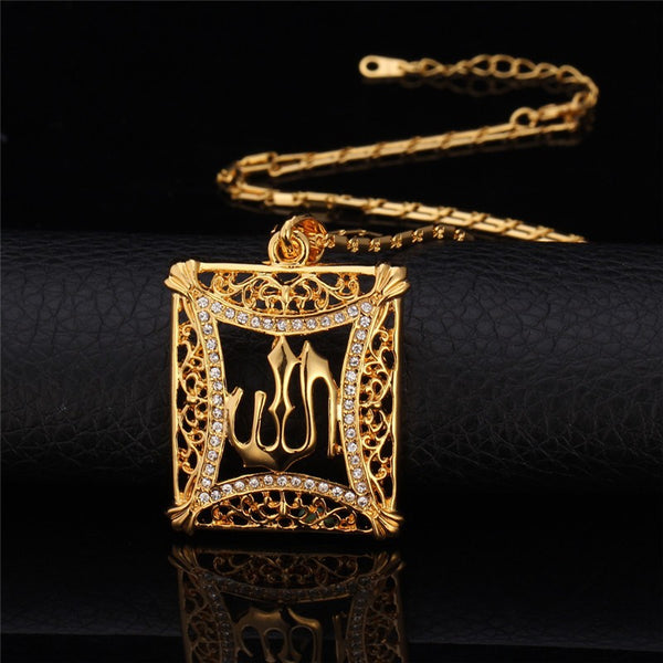 Allah Pendant Vintage 18K Gold Overlay Color Rhinestone Islamic Pendant Necklace