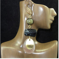 Charcoal Cellulose Beaded Long Dangle Earrings