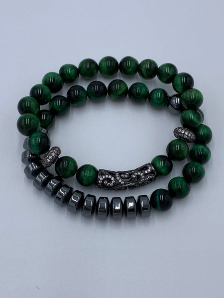 New  Green Tiger-Eye Rock-Art for your Wrist