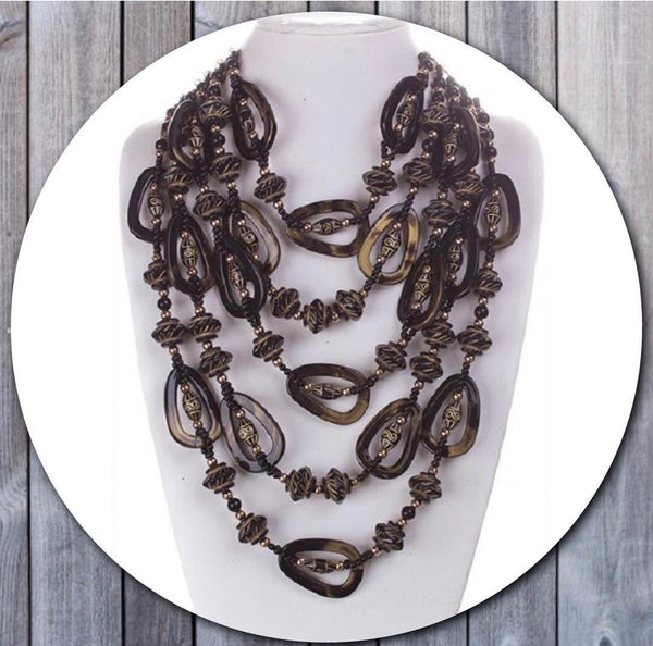 Black/Gold  Cellulose Statement Necklace Set
