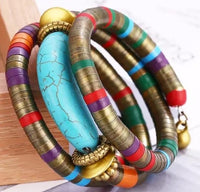 Fashion Natural Stone Vintage Colorful Snake Bangle Bracelet