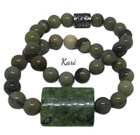 Natural Silver Leaf Jasper Gemstone Bracelet Set