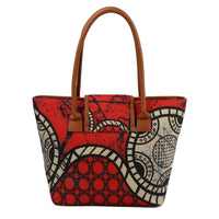 Colorful Red and Black Circle Print Tote Bag Set