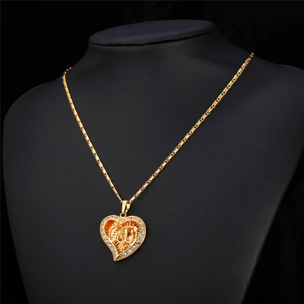 Heart Allah Pendant Necklace In 18K Gold & Platinum Overlay