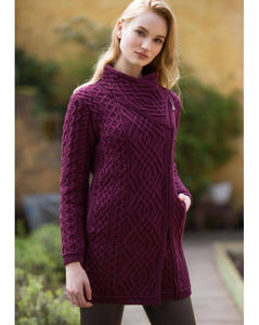 Aran Cable Knit Side Zip Long Coat Sweater -  Aran crafts