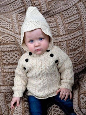 Baby's Aran Cable Fisherman Hooded Sweater with Side Buttons -  Aran crafts