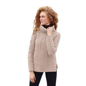 Fisherman Aran Cable Knit Sweater with Cowl Neck -  Carraig Donn