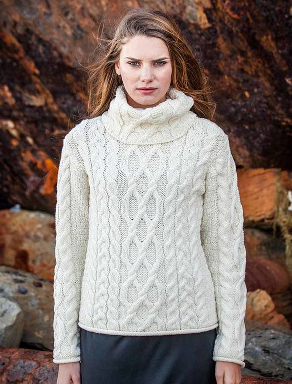 Fisherman Aran Cable Knit Sweater with Turtleneck -  Carraig Donn