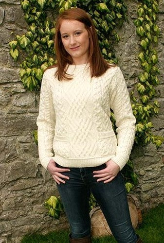 Fisherman Aran Cable Knit Sweater with Patch Pockets -  Carraig Donn