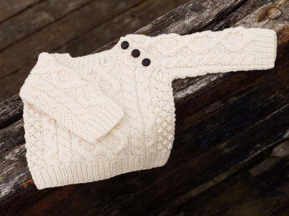 Baby's Aran Cable Fisherman Crew Sweater with side Buttons -  Aran crafts