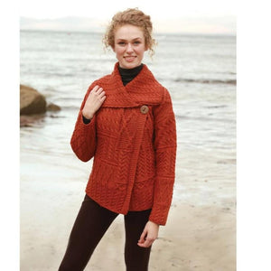 Fisherman Rust Aran Cable Knit Patchwork Cardigan -  Carraig Donn