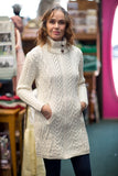 Traditional Aran Knit Sweater Coat