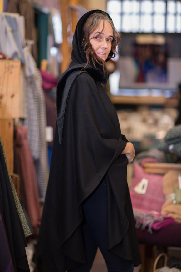 Cashmere and Lambswool Cape with Velvet Hood