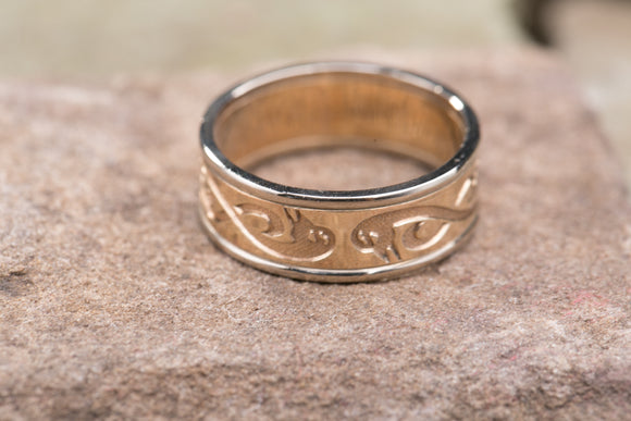 14K Celtic Le Cheile Swans Wedding Band with White Gold Rims