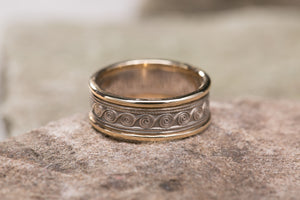 Celtic Spiral Wedding Band 14K White Gold with 14K Yellow Gold Rims