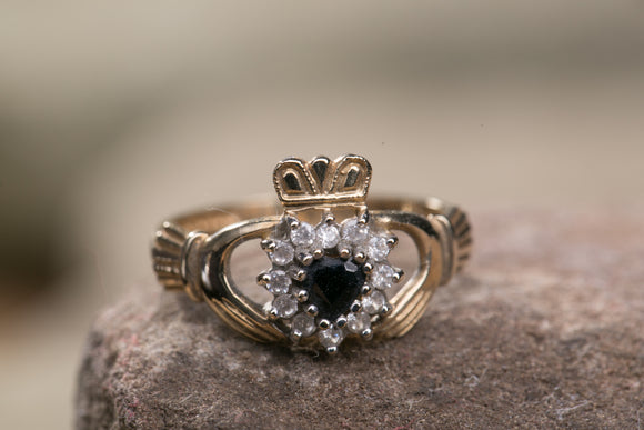 Ladies Claddagh Ring 10k Gold with Sapphire and Cubic Zirconium