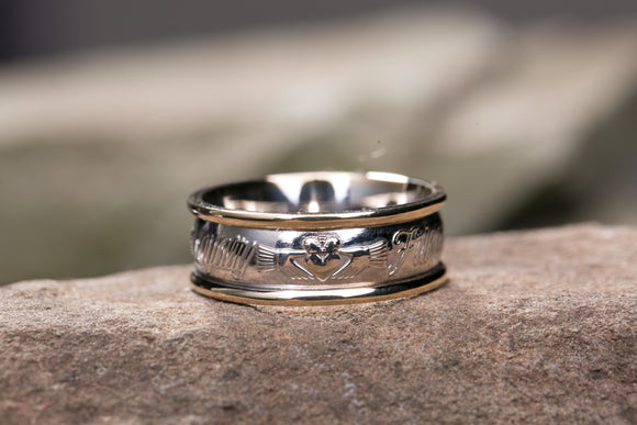 14K Claddagh Wedding Band with 14K White Gold Rims