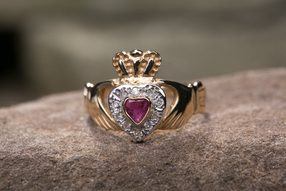 Ladies 14K Claddagh Ring set with Ruby and Diamonds